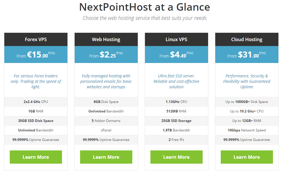 NextPointHost Hosting Plans
