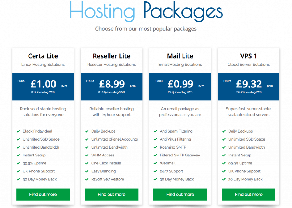 Certa Hosting Pricing