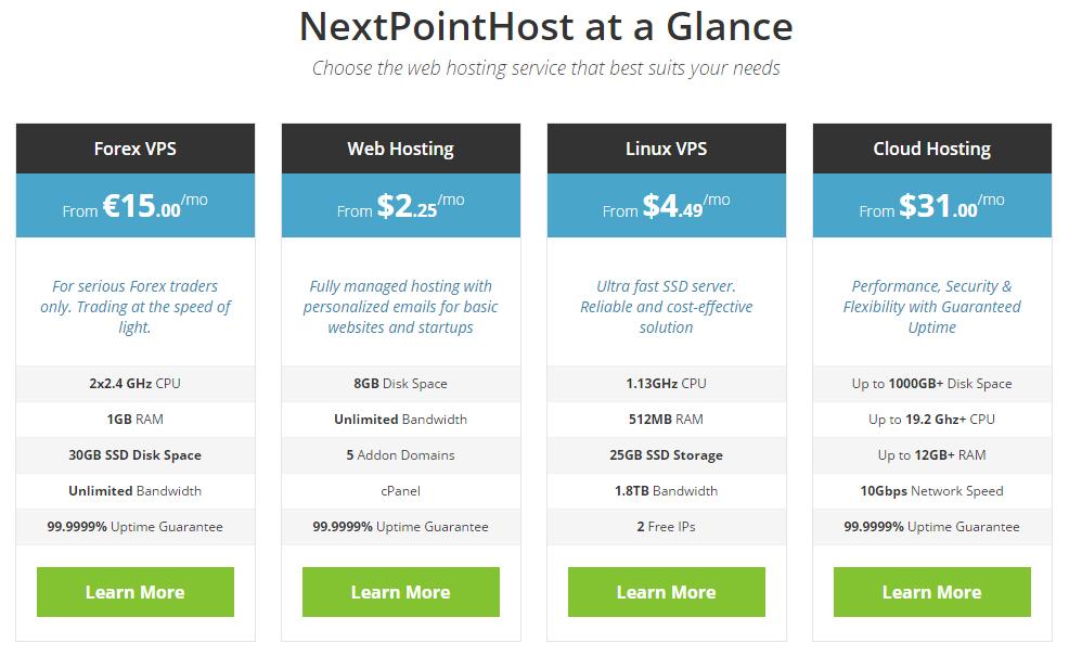 NextPointHost Hosting Plans