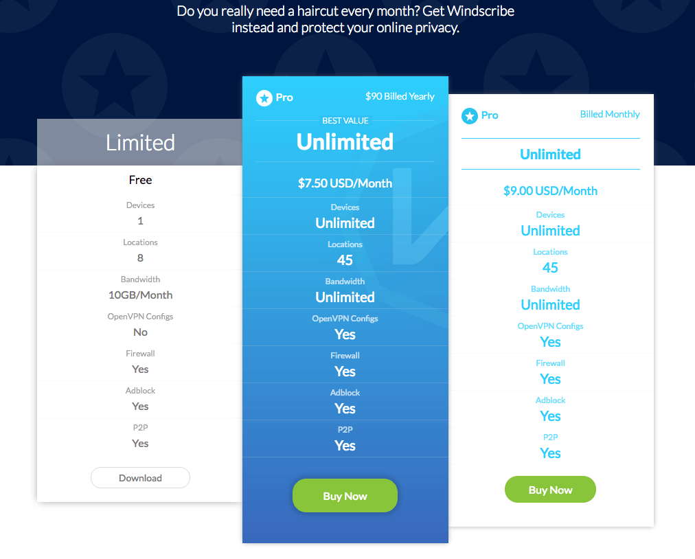 Windscribe Pricing