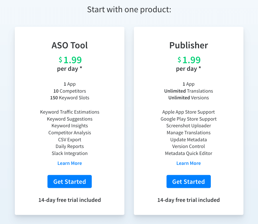 App Radar Pricing