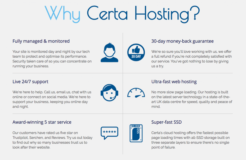 Certa Hosting Features (Review)