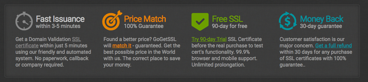 GoGetSSL Features